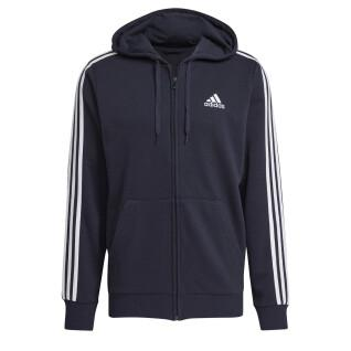 Giacca con cappuccio adidas Essentials French Terry 3-Bandes Full-Zip