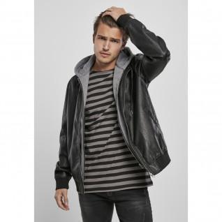 Giacca con cappuccio Urban Classics fleece fake leather